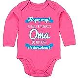 Sprüche Baby - Ich Habe eine verrückte Oma blau - 3/6 Monate - Fuchsia - Baby Body Beste oma - BZ30 - Baby Body Langarm