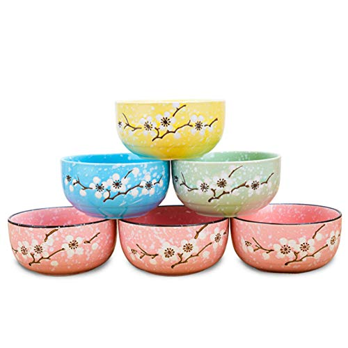 ZH Bol en céramique style japonais Underglaze Plum modèle mélange de couleurs [6 paquets] 10.5 * 5.2cm