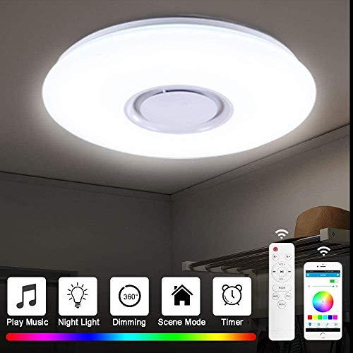 Luz Música Bluetooth 60W Cambio de color RGBW Regulable Lámparas,Lámpara de Techo con Altavoz Bluetooth,de Modernas con Control Remoto/Control,de la aplicacion Para Dormitorio Sala Coci.