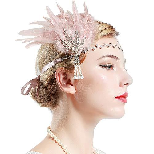 BABEYOND Anillo de la Flapper de los años 20 Anillo de la pluma Gran venda de Gatsby Accesorios de la aleta de los años 20 Desfile del art déco Partido temático (Plata y Pluma Rosa)