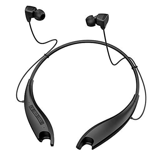 Neckband Headphones 22H Playtime, Jaws Bluetooth Headset, Wireless Earbuds w/Noise Cancelling Mic, Call Vibrate, for Online Teaching Class, Conferences, Calls, Work from Home, Commute, Travel, Black
