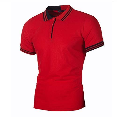 CFWL Polo De Rayas Simples para Hombre, Informal, Color Cedro, Cedro para con Corte EstáNdar para Hombre, DiseñO Tropical Hawaiano Camisa Hawaiana para Casual Manga Corta Rojo XL