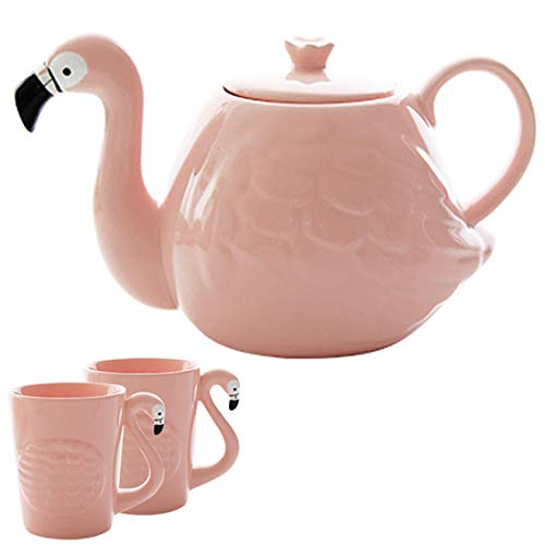 LYLEQ TeteraSet - Juego de 2 tazas de cerámica, diseño de flamenco, color rosa 800 ml rosa