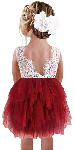 wine red girl dresses - 7