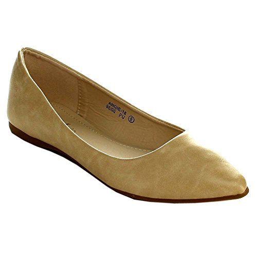 Bella Marie Angie-18 Beige Nude Pu Classic Pointy Toe Ballet Flat Shoes (8.5)
