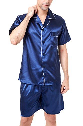 Herren Kurz Satin Schlafanzug Kurzarm Pyjama Set mit Shorts (Marineblau mit weißen Paspeln, L)