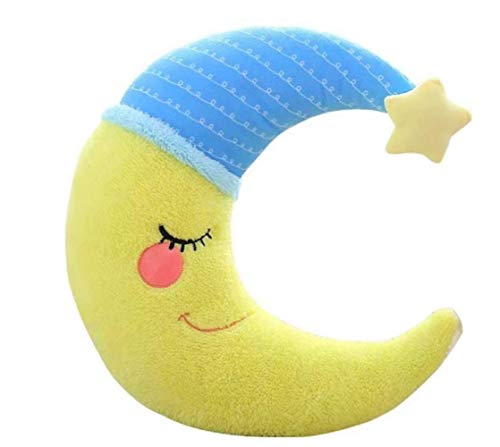 hzwh Lovely Stuffed Moon Shape Pillow Soft Colorful Plush Toys For Kids Baby Cushion Nice Sofa Pillow Good For Girl 15 * 40cm