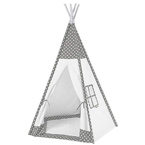 Howa Tipi Zelt für Kinder Sterne grau / weiß incl. Bodenmatte, 185 hoch 8512