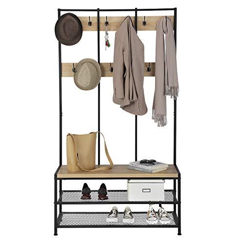 Acaza Porte-Manteaux XL avec Banc à Chaussures, Grand Meuble d'entrée, Vestiaire, Étagère à Chaussures, Couleur Chêne Clair