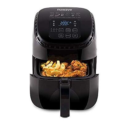 NuWave 36092   Friteuse familiale d'une capacité de 3L, cuisine saine sans matières grasses grâce à la technologie innovante « air-flow » et un système de réglages et de minuteries simplifié, Noir