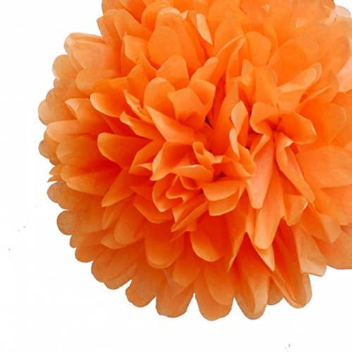 Mr. Gadget Solution 10 pompones de papel de seda para bodas, Navidad y decoraciones de fiesta, 20 cm, color naranja