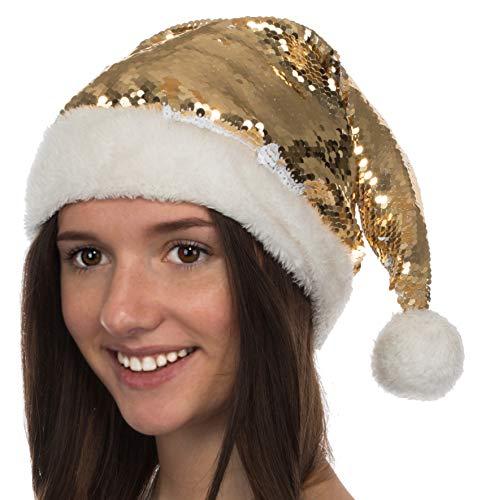 Brandsseller Weihnachtsmütze Nikolausmütze beidseitig mit Pailletten Xmas Mütze Weihnachten Weiß/Gold ca. 47 cm