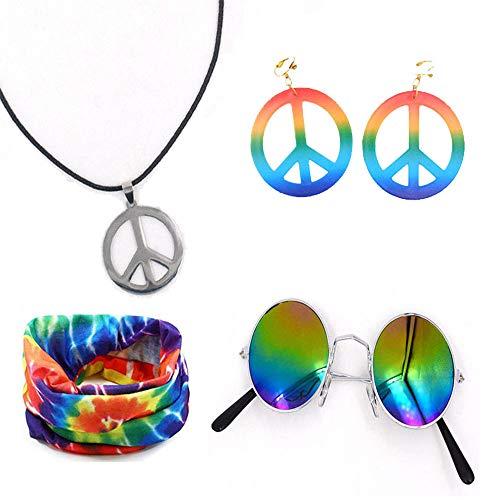 Ritte 5 Piezas Conjunto Disfraces Hippie, Conjunto Accesorios La Paz, Incluye Gafas Sol, Diadema, Collar Y Aretes del Signo La Paz para Fiestas Temáticas Los Años 60, Halloween