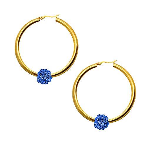 tumundo Shamballa Orecchini Hoops Cerchio Donna Ragazza Gioielli Acciaio Inossidabile Palla Oro Argento Strass Glitter, colore::gold - Shamballa blau/gold - blue