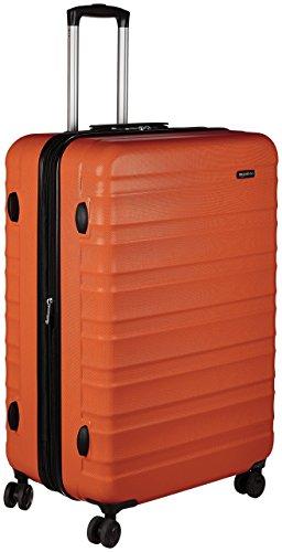 Amazon Basics - Maleta de viaje rígidaa giratoria - 78 cm, grande, Naranja fuerte
