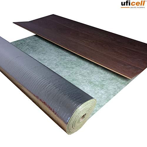 10 m² | Trittschalldämmung uficell® TOPSONIC AKUSTIC ALU - 2 mm stark - Trittschallverbesserung 22 dB - geeignet für Fußbodenheizung (2 mm Stärke, 10 m² / Rolle)