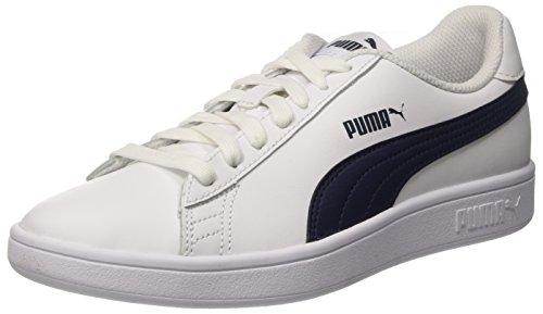 PUMA Smash V2 L, Zapatillas Unisex Adulto, Blanco White/Peacoat, 36 EU