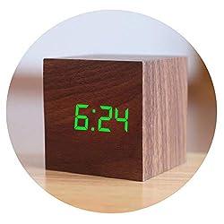 Little lemon Digital Wooden Alarm Clock Backlight Voice Control Wood Retro Glow Clock Desktop Table Luminous Alarm Clocks,N