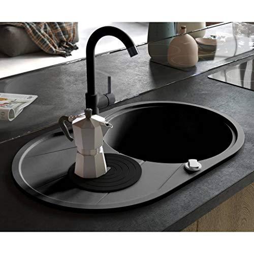 UnfadeMemory Küchen Granitspüle Spüle Granit Spülbecken Einbau/Unterbau Küchenspüle Schmutzabweisend und Kratzfest Design Küchenbecken Auflagespüle (Schwarz, Typ 8 - Oval)