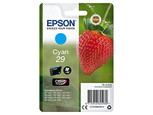 Original Epson–Epson Expression Home XP de 335(29/c13t29824012)–Cartucho de tinta Cian–180páginas–3,2ml