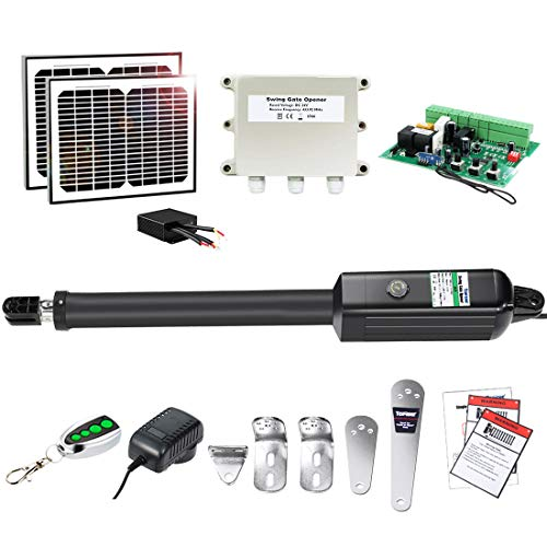 TOPENS A5S Automatic Gate Opener Kit Medium Duty Solar Single Gate Operator for Single Swing Gates Up to 16 Feet or 550 Pounds Gate Motor Solar Panel