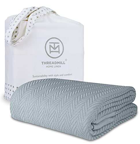 Threadmill Home Linen Queen Blanket - Soft Herringbone Cotton Throw Blanket, Smooth 100% Long Staple Cotton, Warm Scottish Grey Throw for Bed, Couch,...