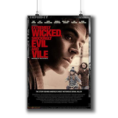 """Filmposter """"Extrem Wicked"""", Shockingly Evil and Vile"""" (2019), kleine Drucke 1142–001, Wandkunst, Dekoration für Schlafsaal, Schlafzimmer, Wohnzimmer, A3, 29 x 42 cm"""