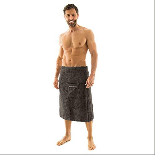 aqua-textil Wellness Saunakilt Herren 70 x 160 cm anthrazit Baumwolle Saunasarong Frottee Kilt kurzer Schnitt