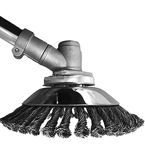 Cepillo Redondo para Desbrozadora de 6 Inch, Rotativo Disco de cepillo de Hierba Recortadora De Hierba Cortador Cabeza, Metal Cortacésped Bandeja De Limpieza para Desbrozadora Adjunto Archivo