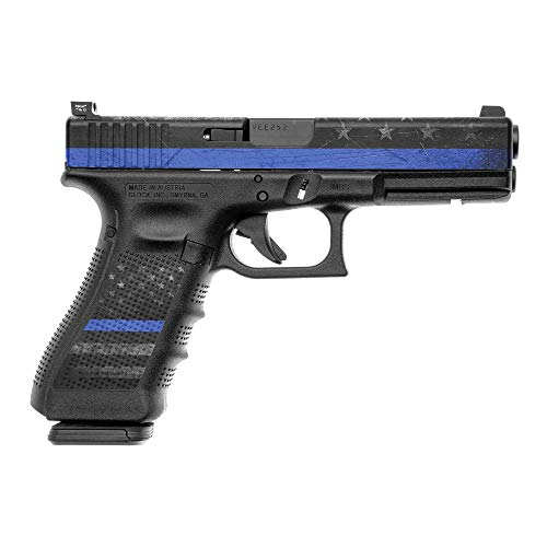 GunSkins Pistol Accent Skin  Premium Vinyl Gun Wrap with Precut Pieces  Easy to Install and Fits G17/G19100% Waterproof NonReflective Matte Finish  Made in USA  GS Thin Blue Line