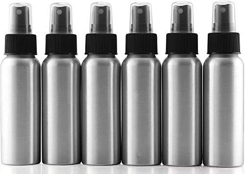 Cornucopia 2-Ounce Aluminum Fine Mist Spray Bottles (6-Pack); Empty Mini Metal Atomizer Bottles, 2.75oz Travel / Purse / Sample Size