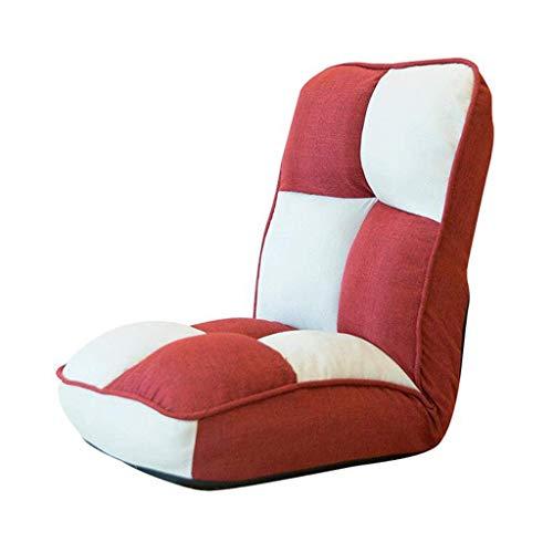 Silla de Oficina Ergonómica Sofá Lazy Lounge Silla de Un Solo Piso Plegable Respaldo Ajustable Reclinable Hogar Plaid Rojo y Blanco Algodón Cáñamo