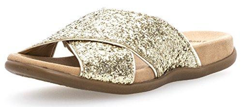 Gabor Damenschuhe 63.708.04 Damen Pantoletten, Clogs, Sandalen mit verbreiterter Auftrittfläche Sonstige Farben (ORO/Light Gold), EU 41