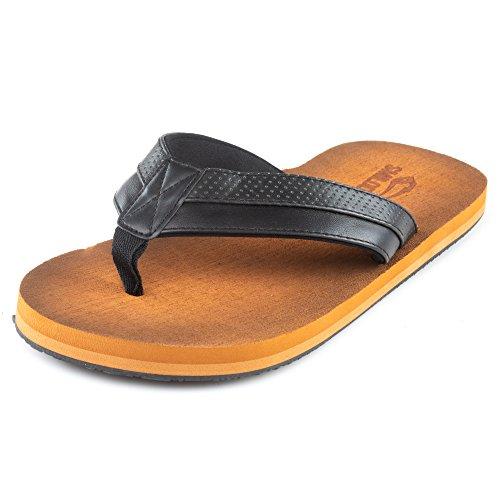 SMILODOX Premium Zehentrenner | Flip Flops ideal für Strandurlaub, Gym & Freizeit | Sandalen mit Fester Sohle - rutschfest - Perfekte Dämmung - Hausschuhe, Farbe:Schwarz, Größe:44 EU