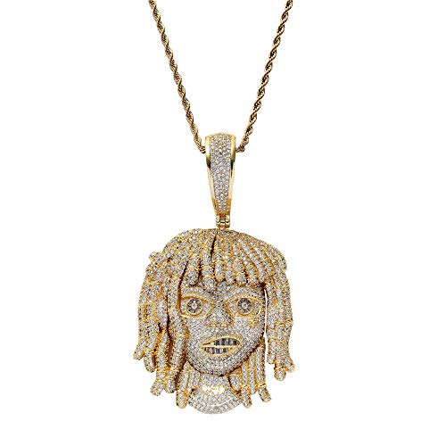 Fantex 18K Iced Out Dreadlock Pump Portrait Big Diamond Pendant with Cuban Chain, Full Shiny 5A Lab Diamond Necklace, Gold Plated Hip Hop Jewelry for Men (Gold,18''Cuban)