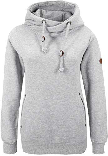 Sublevel Damen Hoodie mit Schalkragen   Sportlich-Eleganter Kapuzenpullover Meliert Light-Grey M