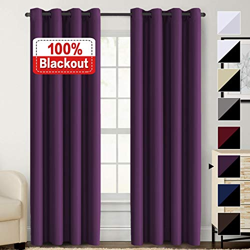 Flamingo P 100% Blackout Curtain Set Thermal Insulated Blackout Curtains Double Layer Curtains for Bedroom/Living Room, Heavy Duty Lined Curtains 84 Inches Long, Indigo Plum, Grommet, Set of 2