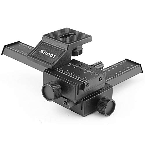 """SHOOT Aluminum Pro 4-Way Macro Focusing Rail Slider/Close-up Shooting Photography for Canon Nikon Sony Pentax Olympus Samsung Other Digital SLR Camera and DC with 1/4"""" Screw Hole"""