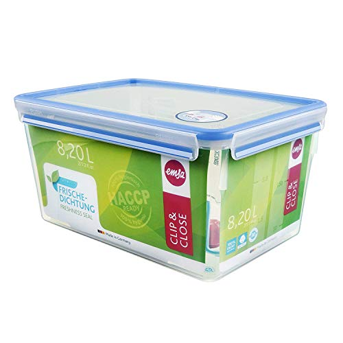 Emsa 508548 Rechteckige Frischhaltedose mit Deckel, 8.0 Liter, Transparent/Blau, Clip & Close
