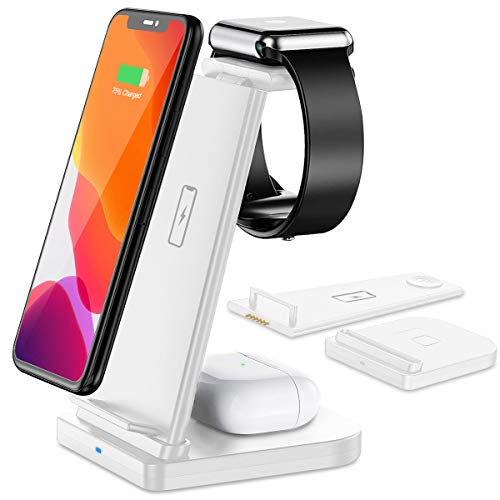 Bestrans Kabelloses Ladegerät, 3 in 1 Fast Wireless Charger Ladestation für Apple Watch 5/4/3/2, AirPods Pro/2, Fast Wireless Charging Stand für iPhone11 Pro Max/X/XS/XR/8Plus (Weiß)