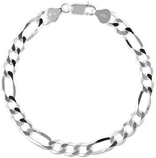Sterling Silver 925 Figaro Chain Bracelet 7mm