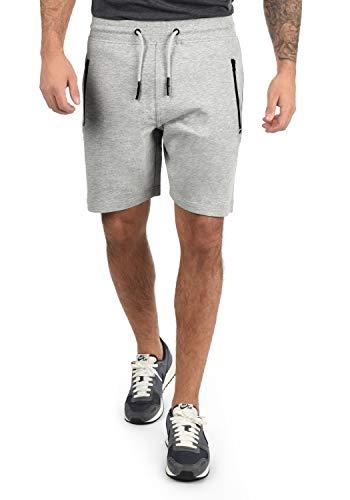 !Solid Taras Herren Sweatshorts Kurze Hose Jogginghose Mit Verschließbaren Eingriffstaschen Und Kordel Regular Fit, Größe:L, Farbe:Light Grey Melange (8242)
