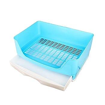 N / A Grande Boîte De Litière De Lapin De Toilette pour Animaux De Compagnie Type De Tiroir Anti-Renversement Pot pour Intérieur Extérieur, 41x30x16cm(Color:Bleu)