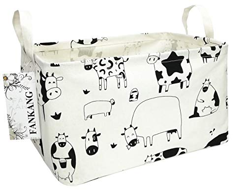 FANKANG Storage Basket Nursery Hamper Canvas Laundry Basket Foldable with Waterproof PE Coating Storage  Office  Bedroom  Clothes Toys(L  Rec-cows)