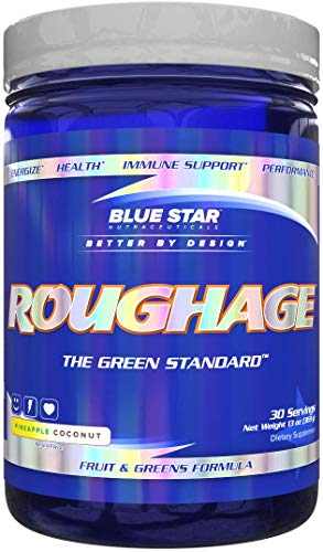 ROUGHAGE Amazing Greens Powder: Veggies and Fruit Superfood Greens Supplement with Antioxidants & Fiber - Includes Spirulina, Maca, and Blueberry Powder, Pineapple Coconut Flavor, 30 Servings