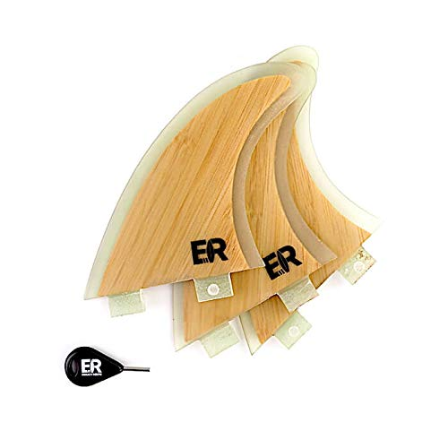 Eisbach Riders Surfboard FCS Bamboo Fiberglass Fin Thruster Set mit Fin Key (Größe Medium) - Finnen Flossen für Surfbrett und SUP (FCS)
