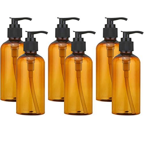 Vide Bouteille Bouteille Rechargeable en Verre ambré avec Lotion Noire Pompe Distributeur de Savon pour Les huiles essentielles