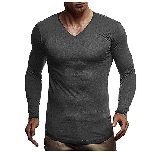 Camisa Hombre Manga Larga con Cuello en V Camisa Casual Hombre Camisa Hombre Slim fit Slim Fit de Longsleeve