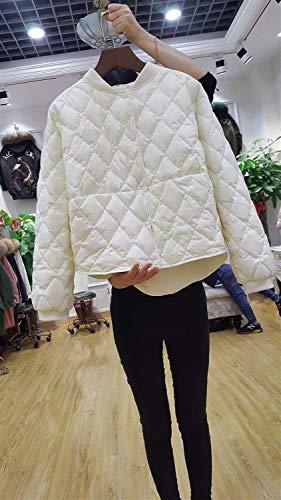 Xyzlove New Baseball Daunenjacke Frauen Kurze weiße Ente unten Outwear lose beiläufige Mantel Ultra Light Daunenjacken über Größe (Color : White, Size : L)