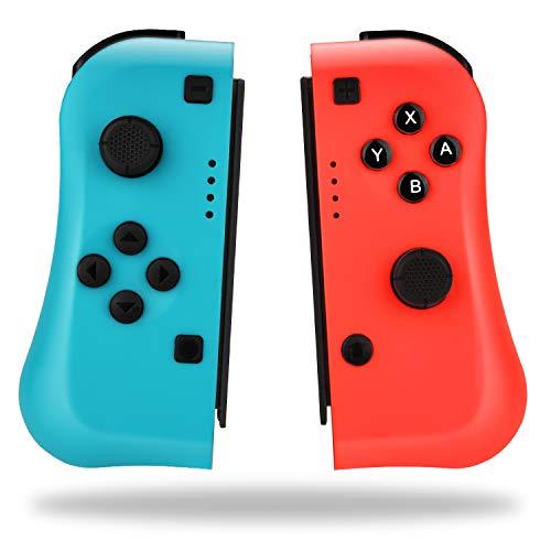 TechKen Switch Joycon Controller para Nintendo Switch Console, Mando a Distancia inalámbrico Joystick de reemplazo de Doble Choque para Joy con (Rojo neón/Azul)